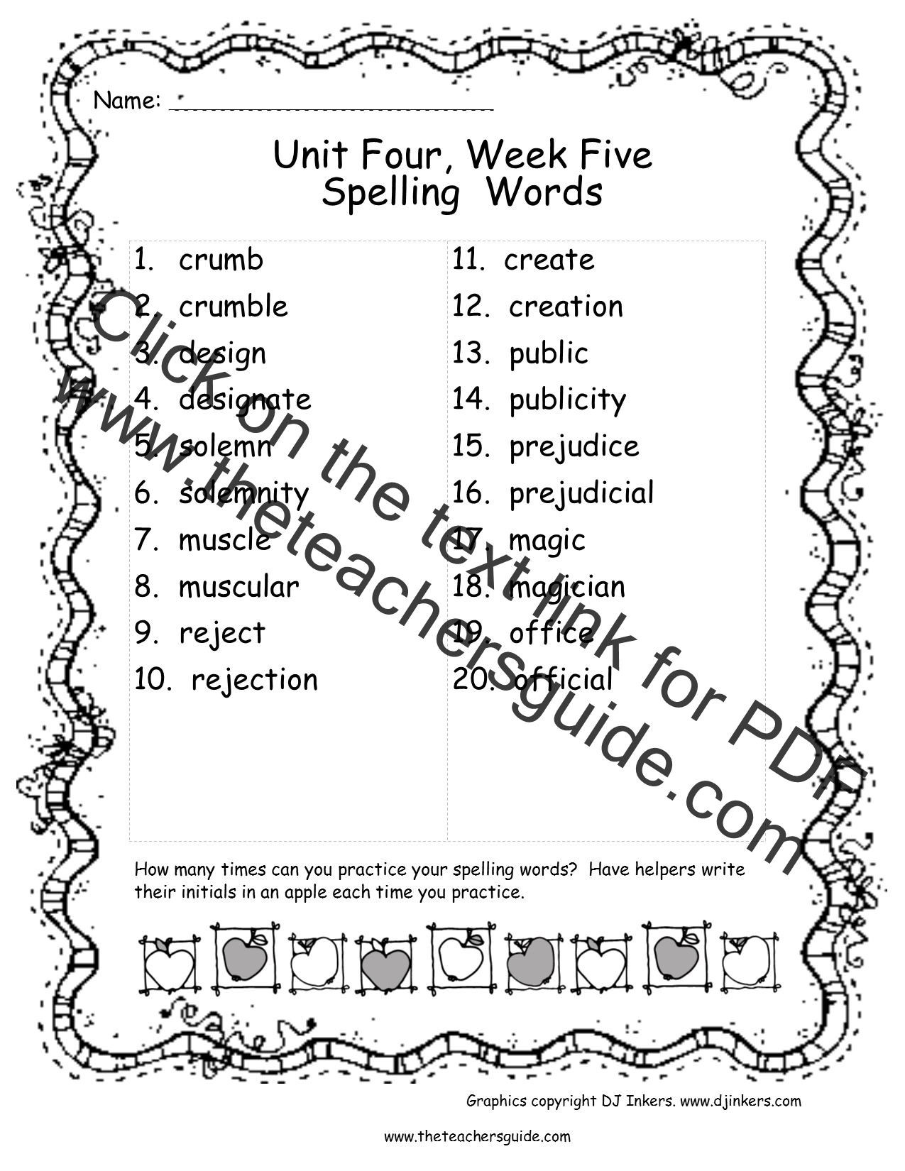 Spelling List For Students To Take Home