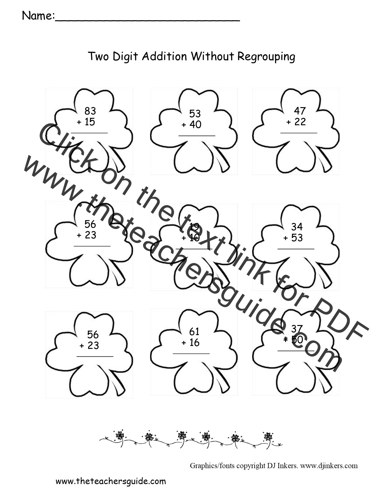 St Patricks Day Printouts from The Teachers Guide – Two Digit Subtraction Without Regrouping Worksheets