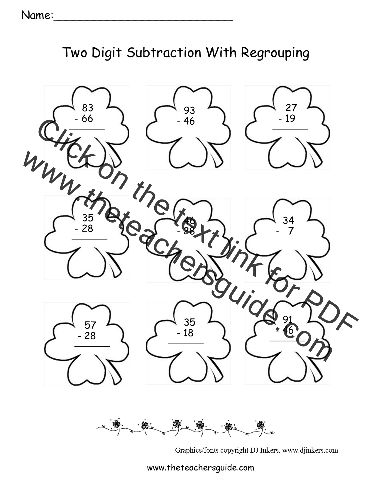 St Patricks Day Printouts from The Teachers Guide – Subtracting 2 Digit Numbers with Regrouping Worksheets