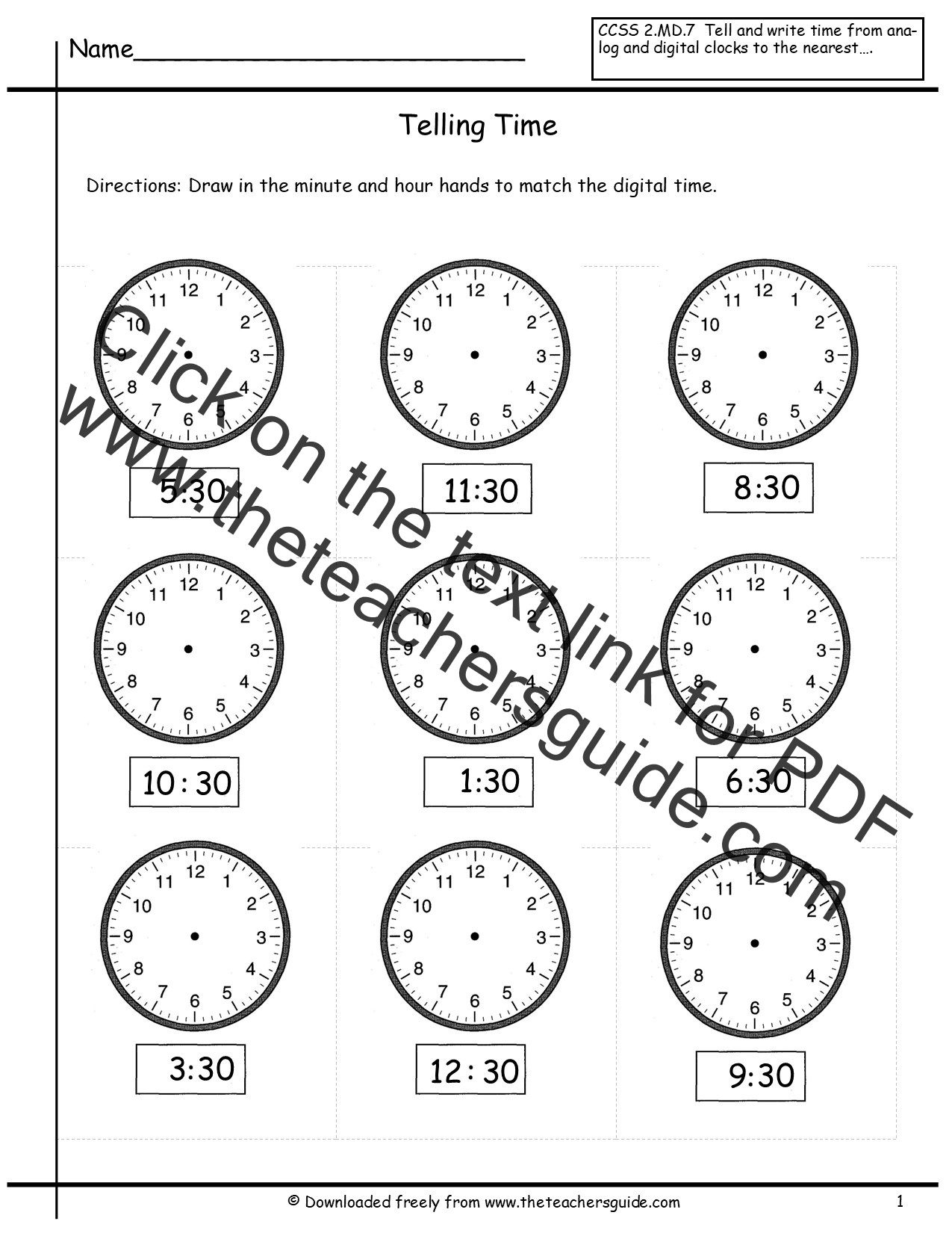 Printables Free Printable Telling Time Worksheets telling time worksheets from the teachers guide to nearest half hour 2