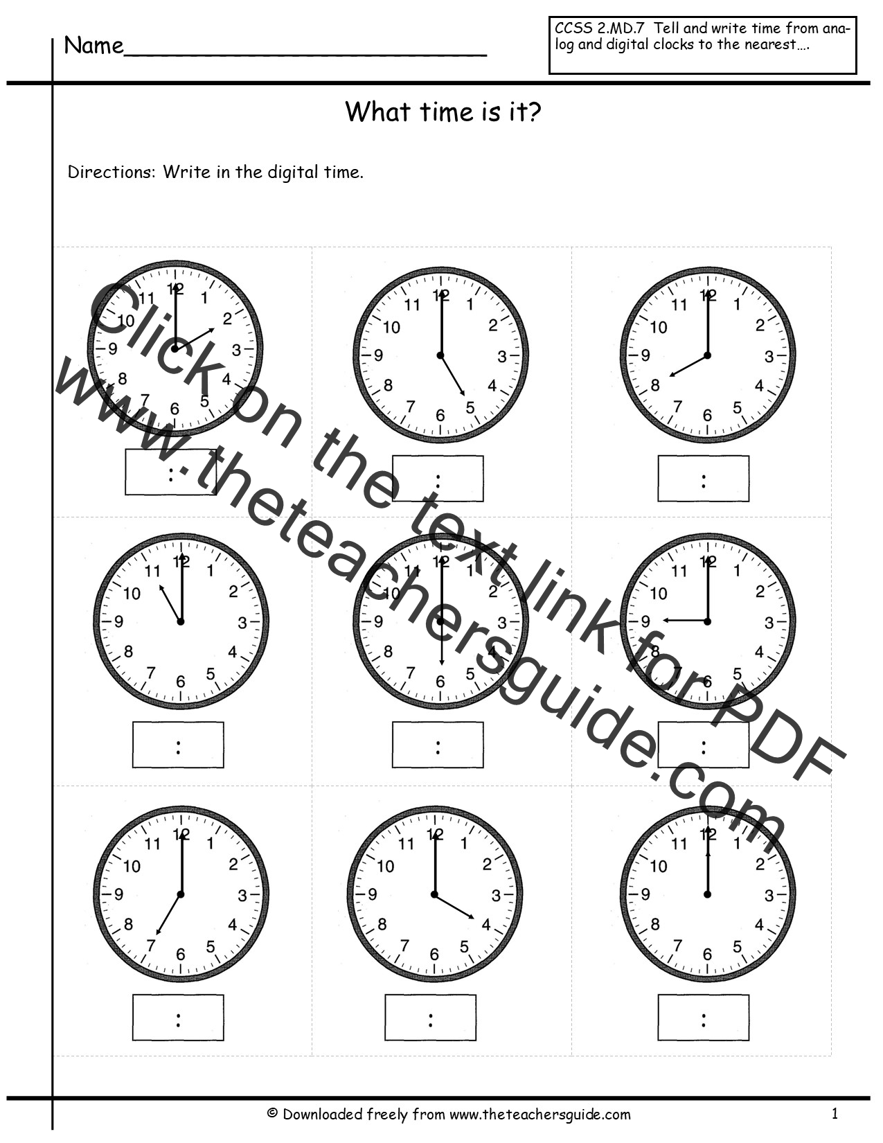 Telling Time Worksheets from The Teachers Guide – Math Worksheet Time