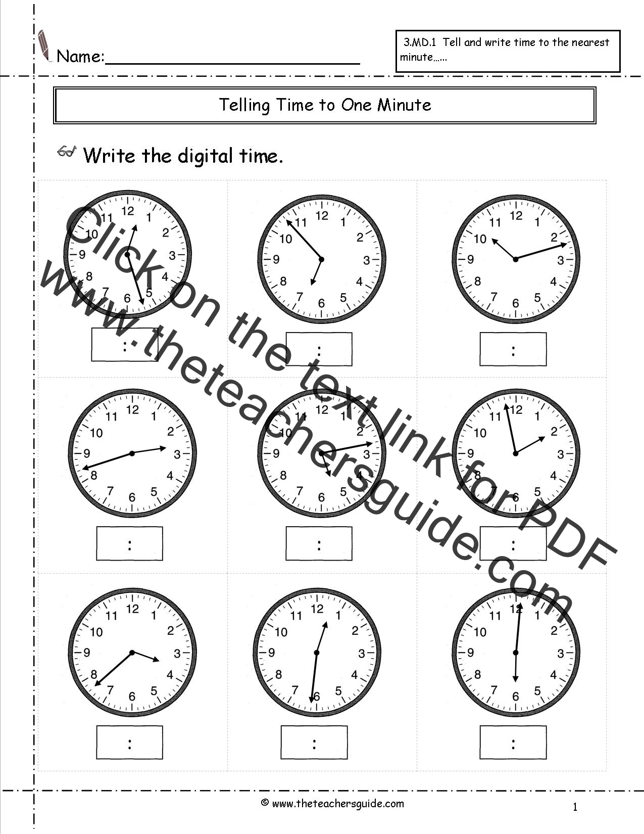 Worksheet Telling Time Work Sheets telling time worksheets from the teachers guide to nearest minute 2
