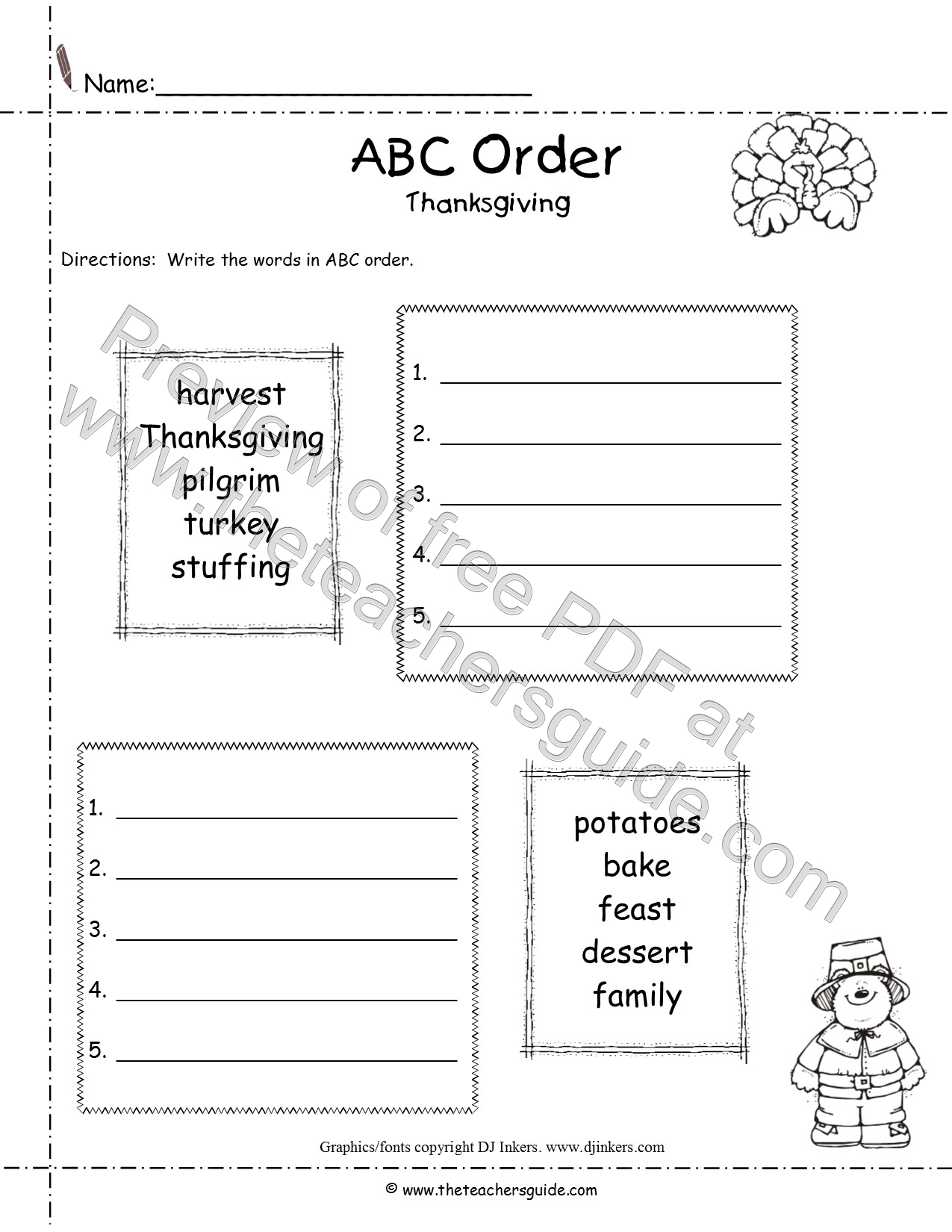 Thanksgiving Lesson Plans, Themes, Printouts, Crafts