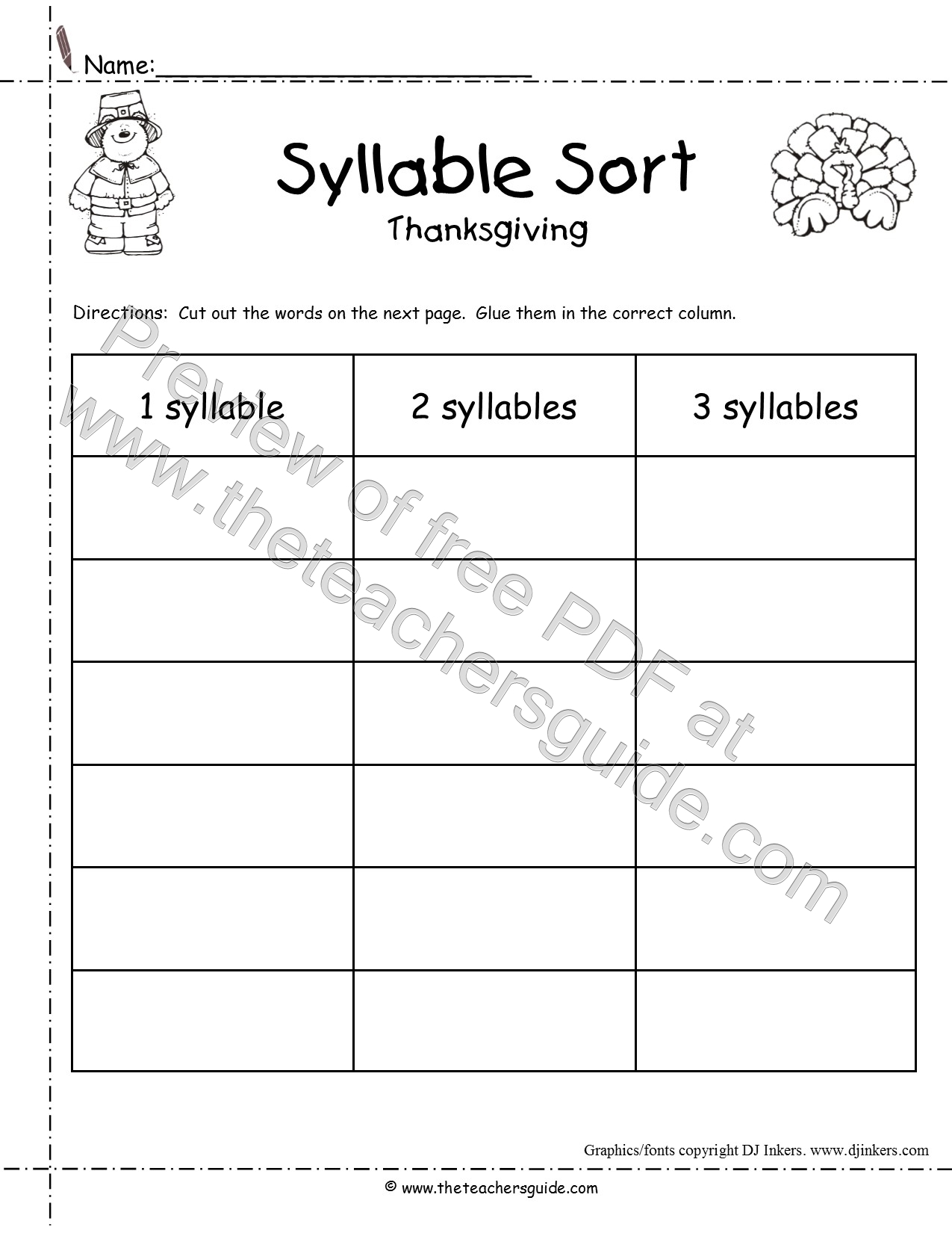 Thanksgiving Printouts from The Teachers Guide – Syllables Worksheet
