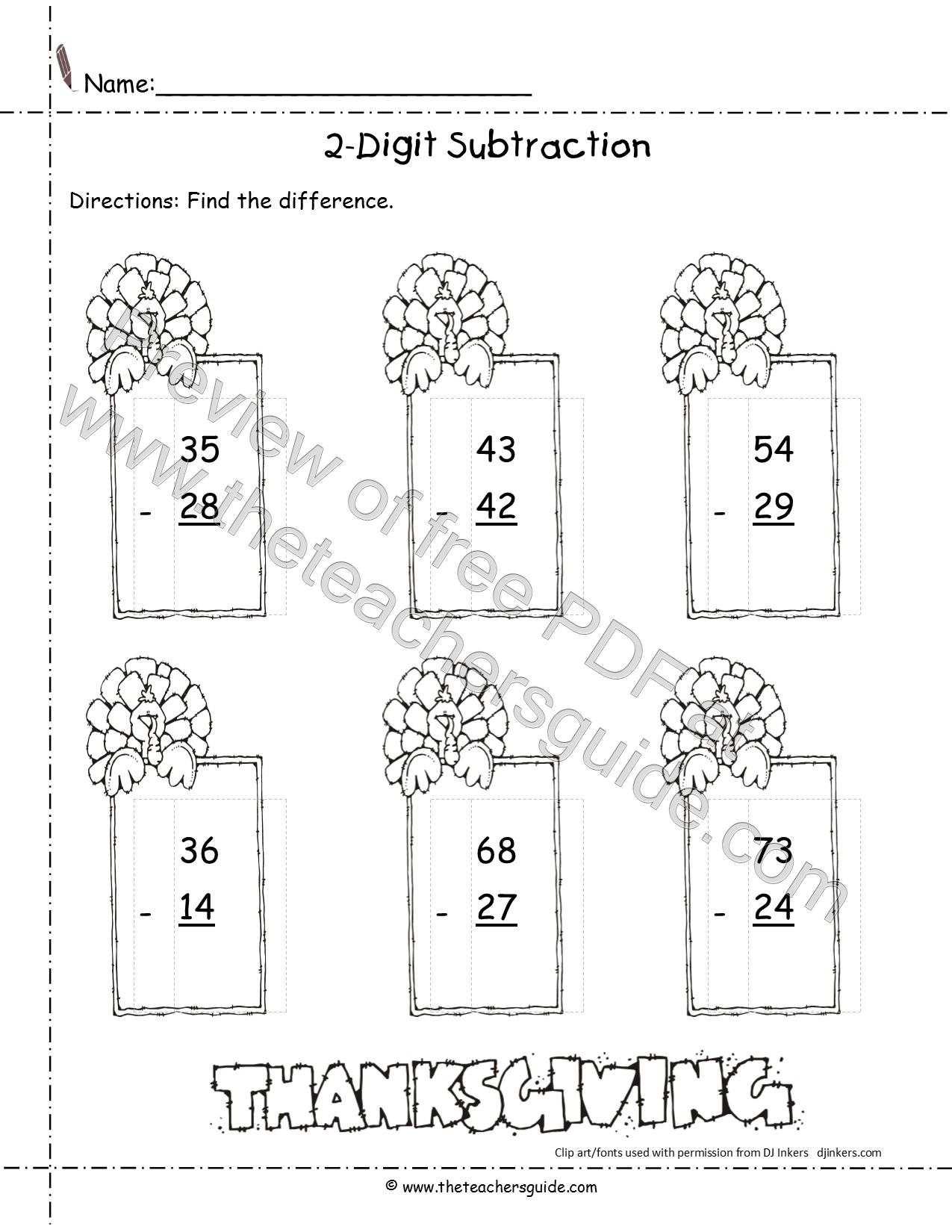 Thanksgiving Printouts from The Teacher\'s Guide