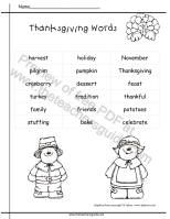 thanksgiving word list printouts