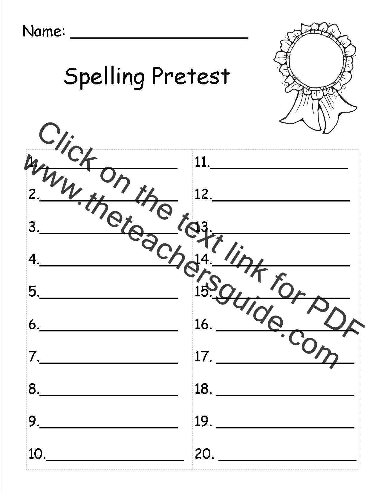 Worksheets Blank Vocabulary Worksheet spelling word list template