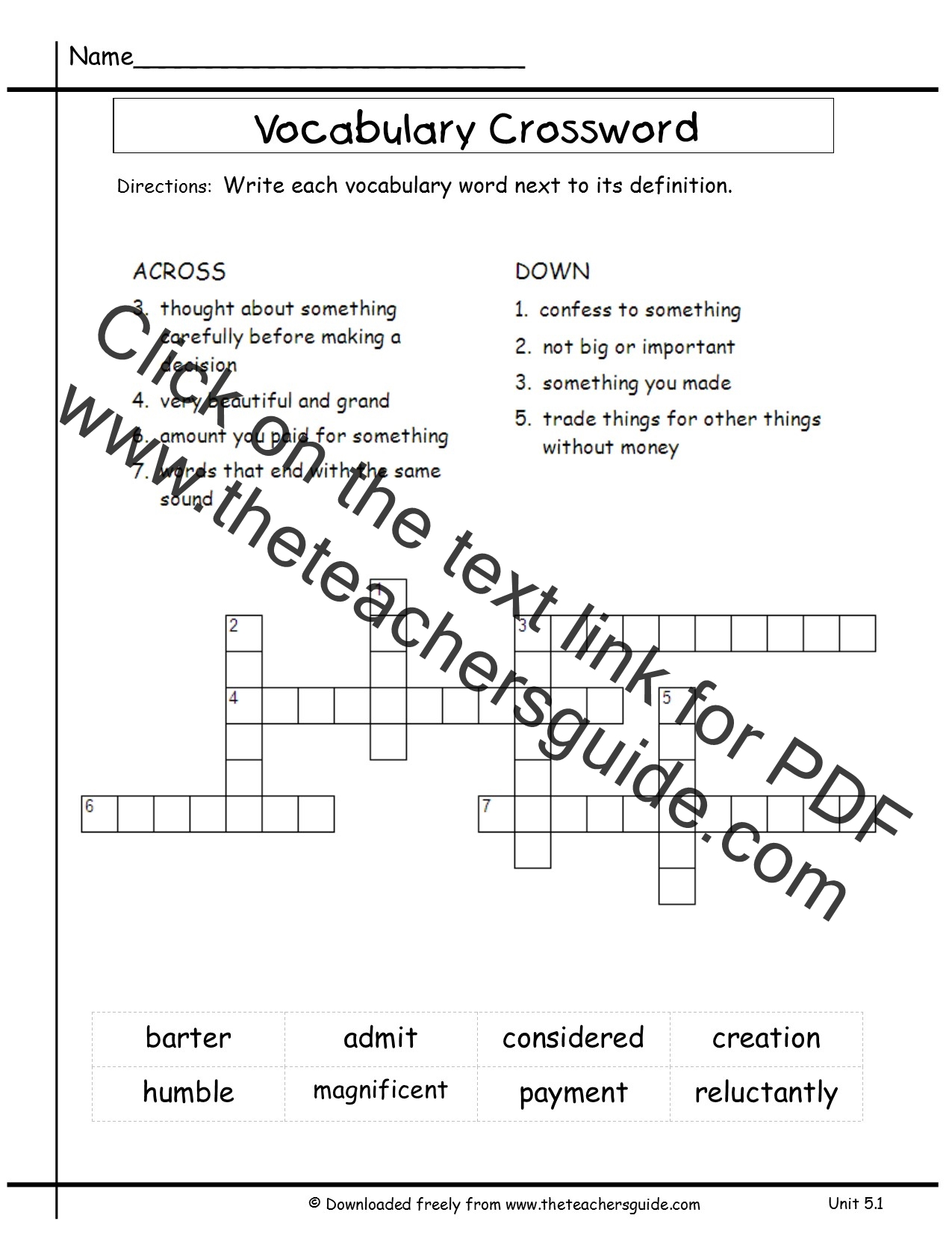 vocabulary sheet template
