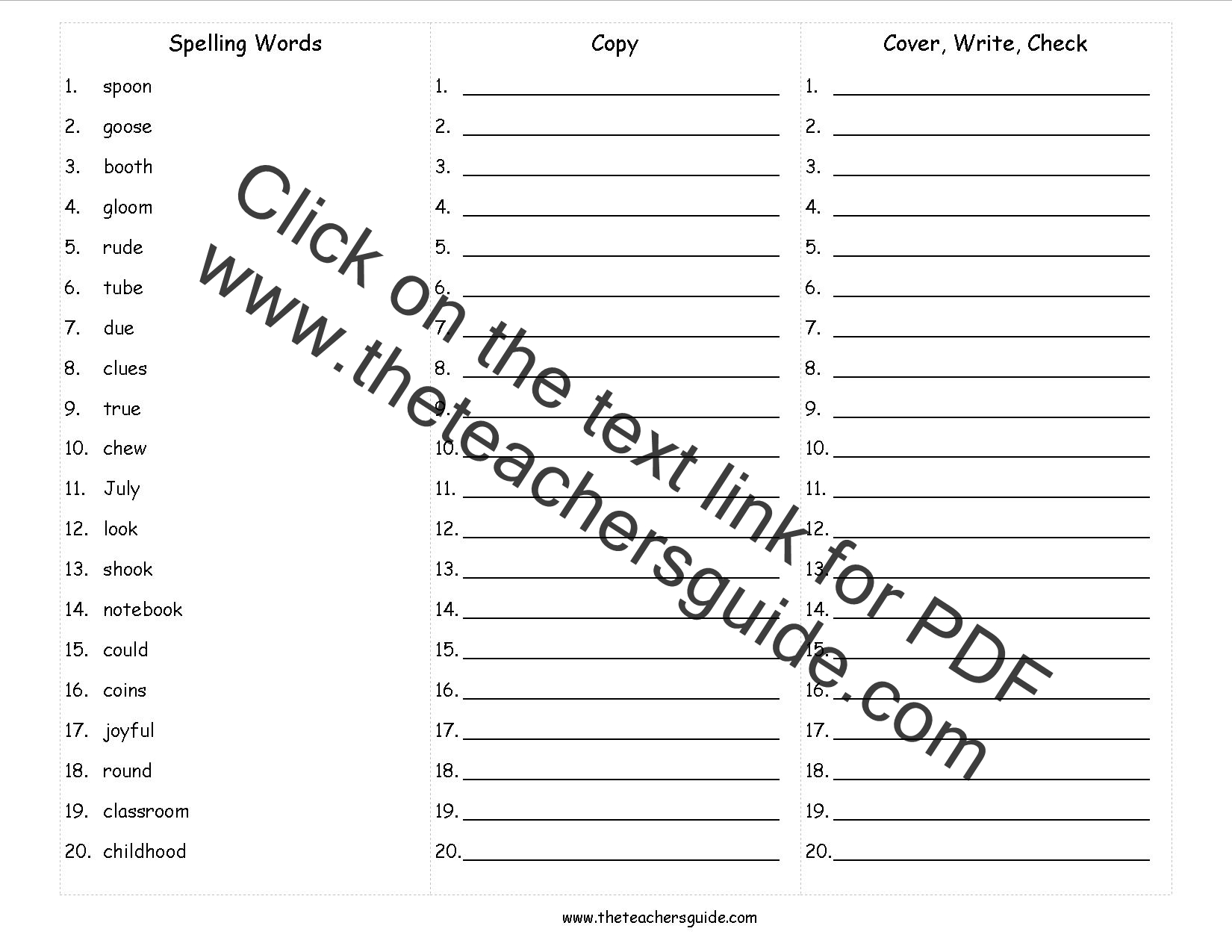 spelling words cover copy write