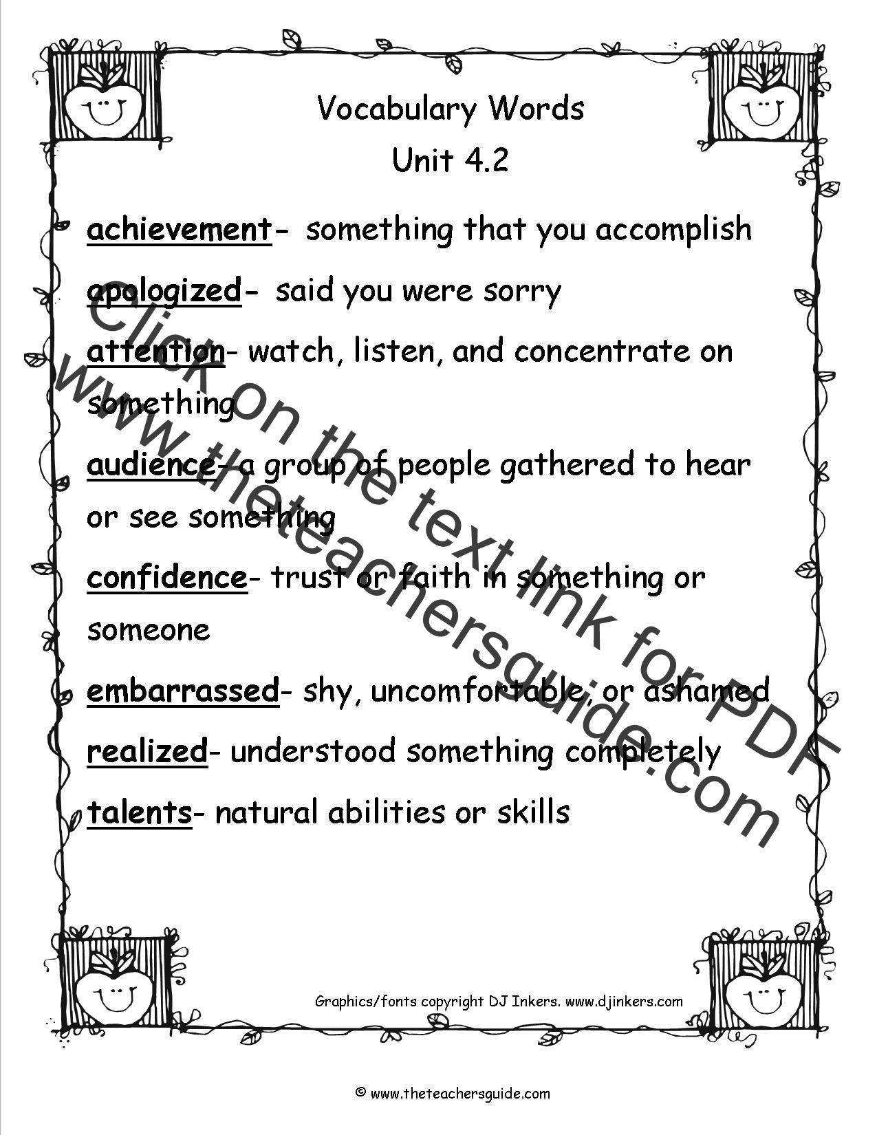 vocabulary words for third grade kidz activities. Black Bedroom Furniture Sets. Home Design Ideas