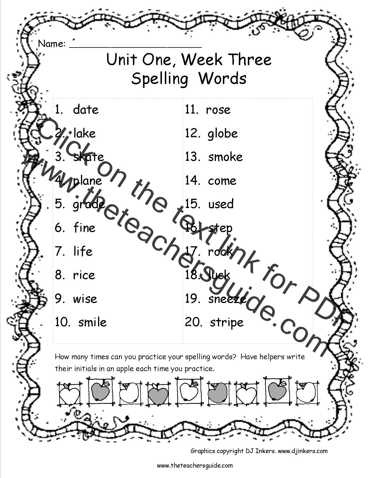 Worksheet Word List For Third Grade wonders third grade unit one week three printouts mcgraw hill spelling words list