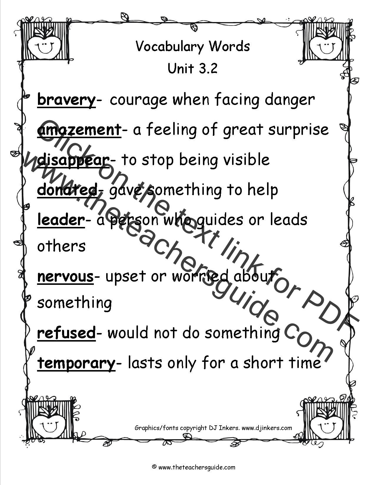 vocabulary words 3rd grade