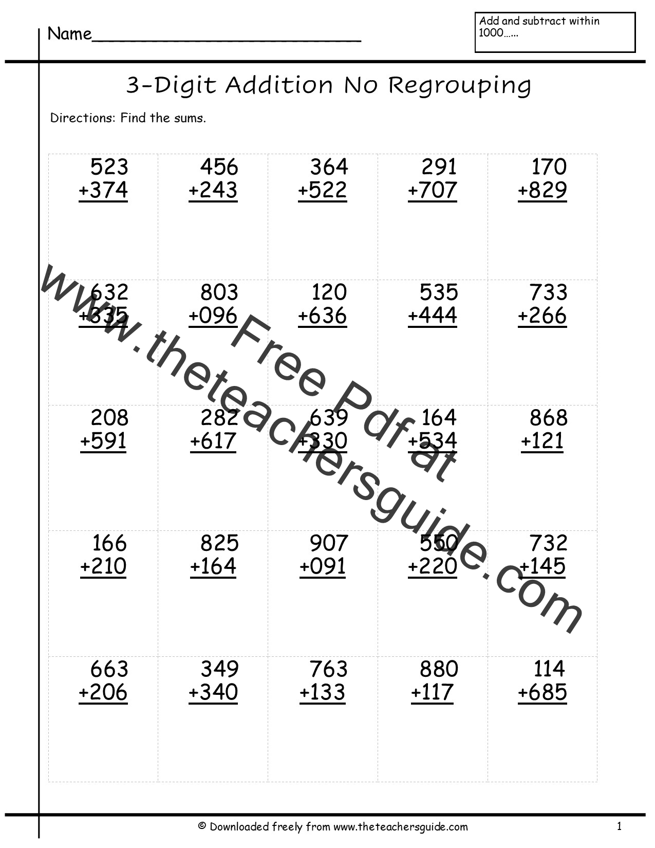 Free Math Printouts from The Teachers Guide – Addition Two Digit Numbers Worksheet