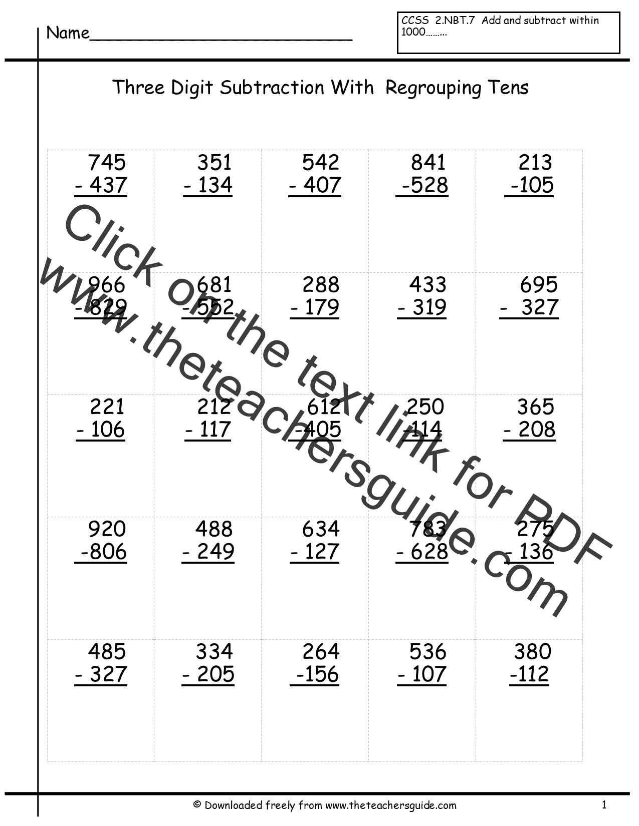Three Digit Subtraction Worksheets from The Teacher's Guide