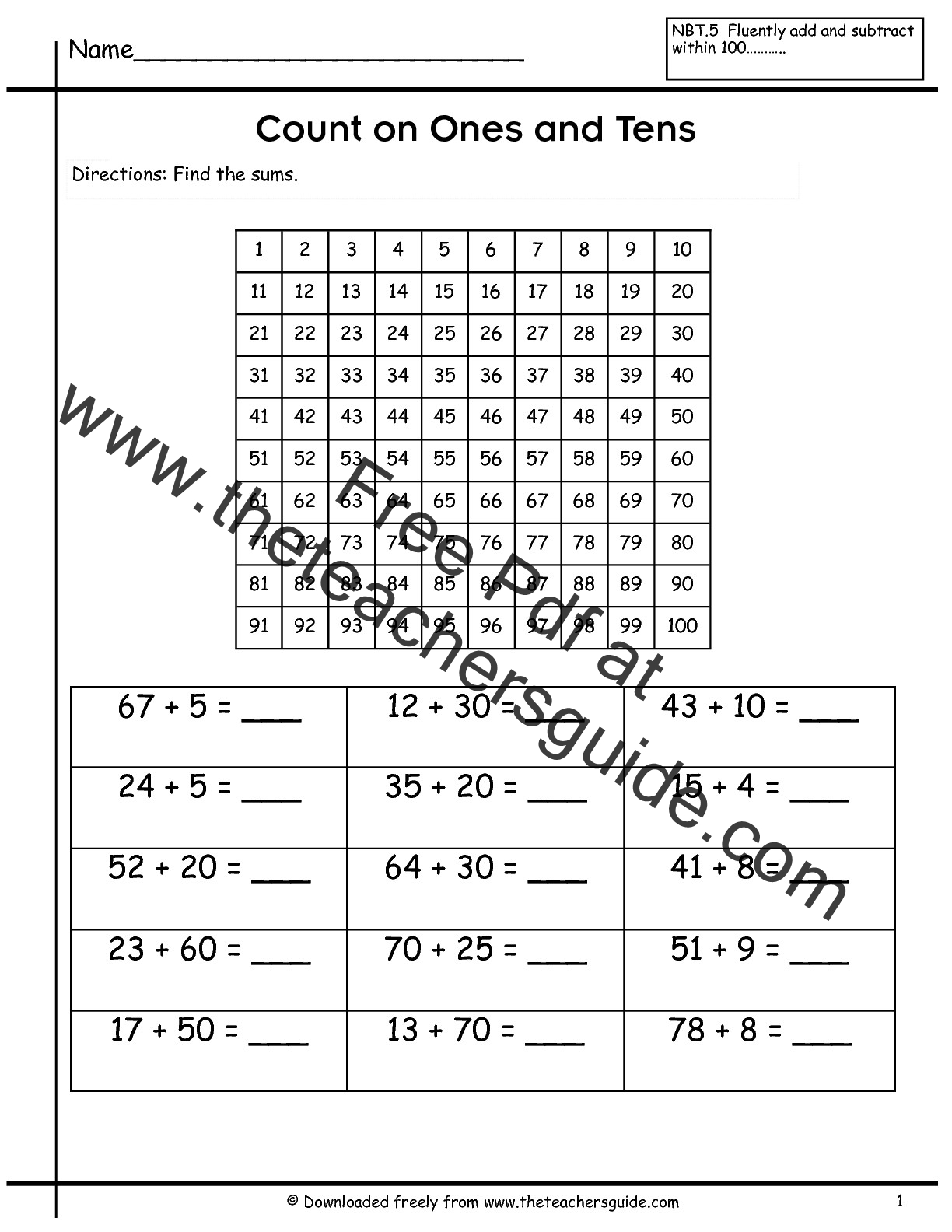 Printables Ones Tens Hundreds Worksheets two digit addition worksheets from the teachers guide counting on ones and tens worksheet