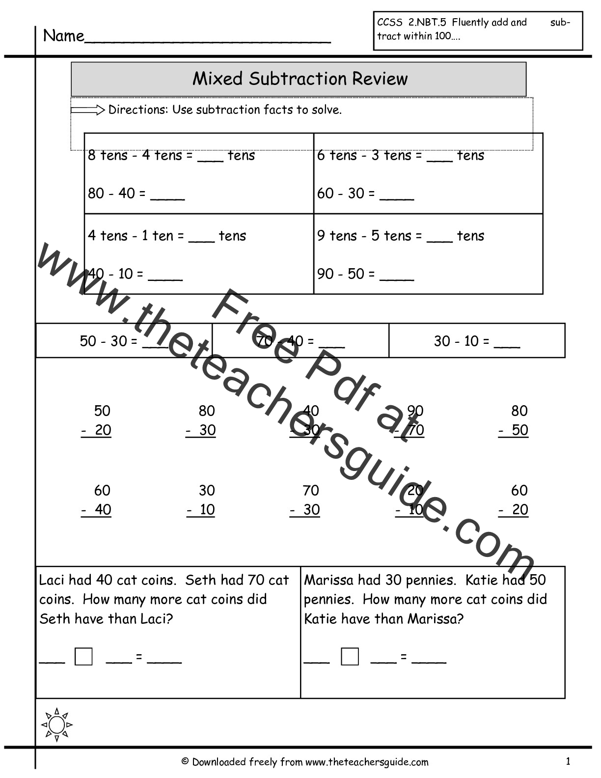 math worksheet : single digit addition worksheets from the teacher s guide : Two Digit Subtraction Worksheet