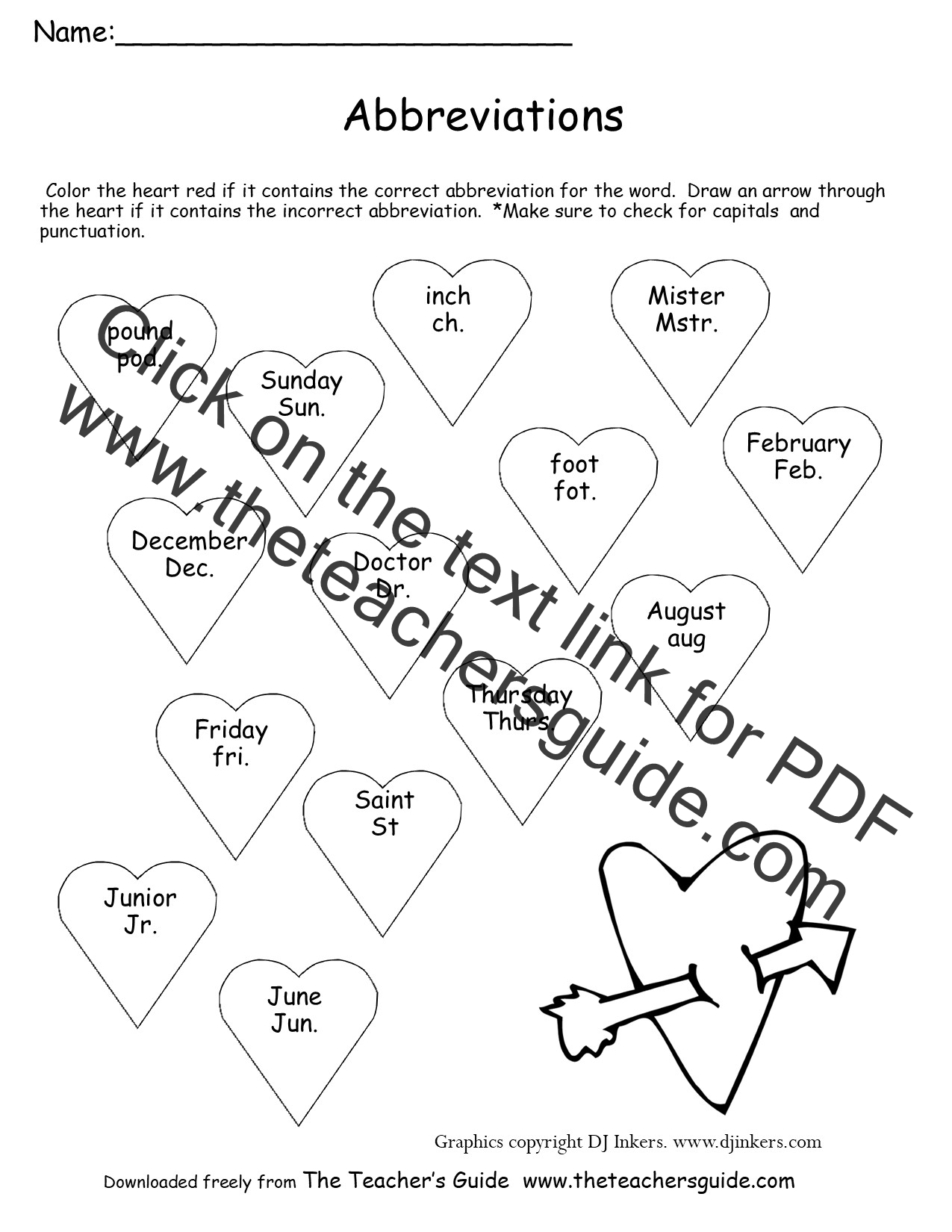 Valentines day lesson plans themes printouts crafts valentines day abbreviations worksheet maxwellsz