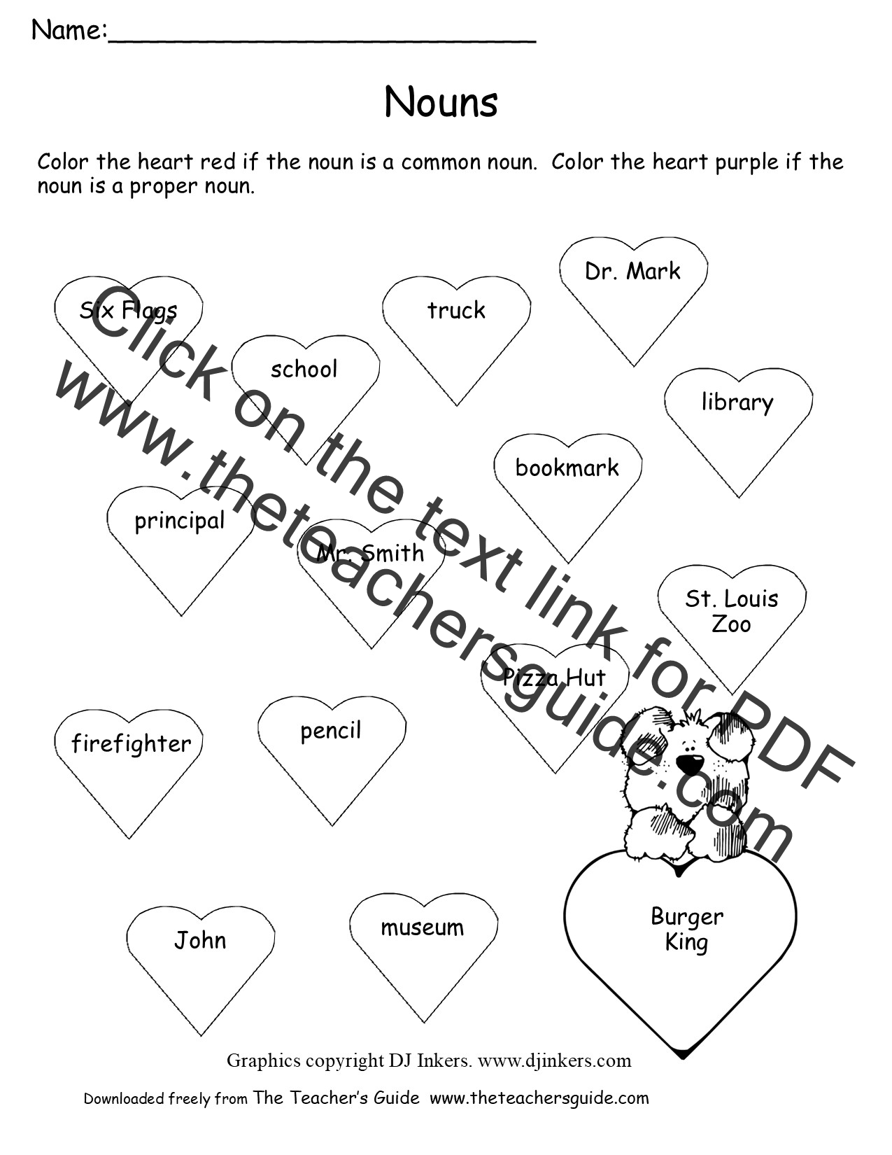 Valentines Day Printouts from The Teachers Guide – Common Nouns and Proper Nouns Worksheet
