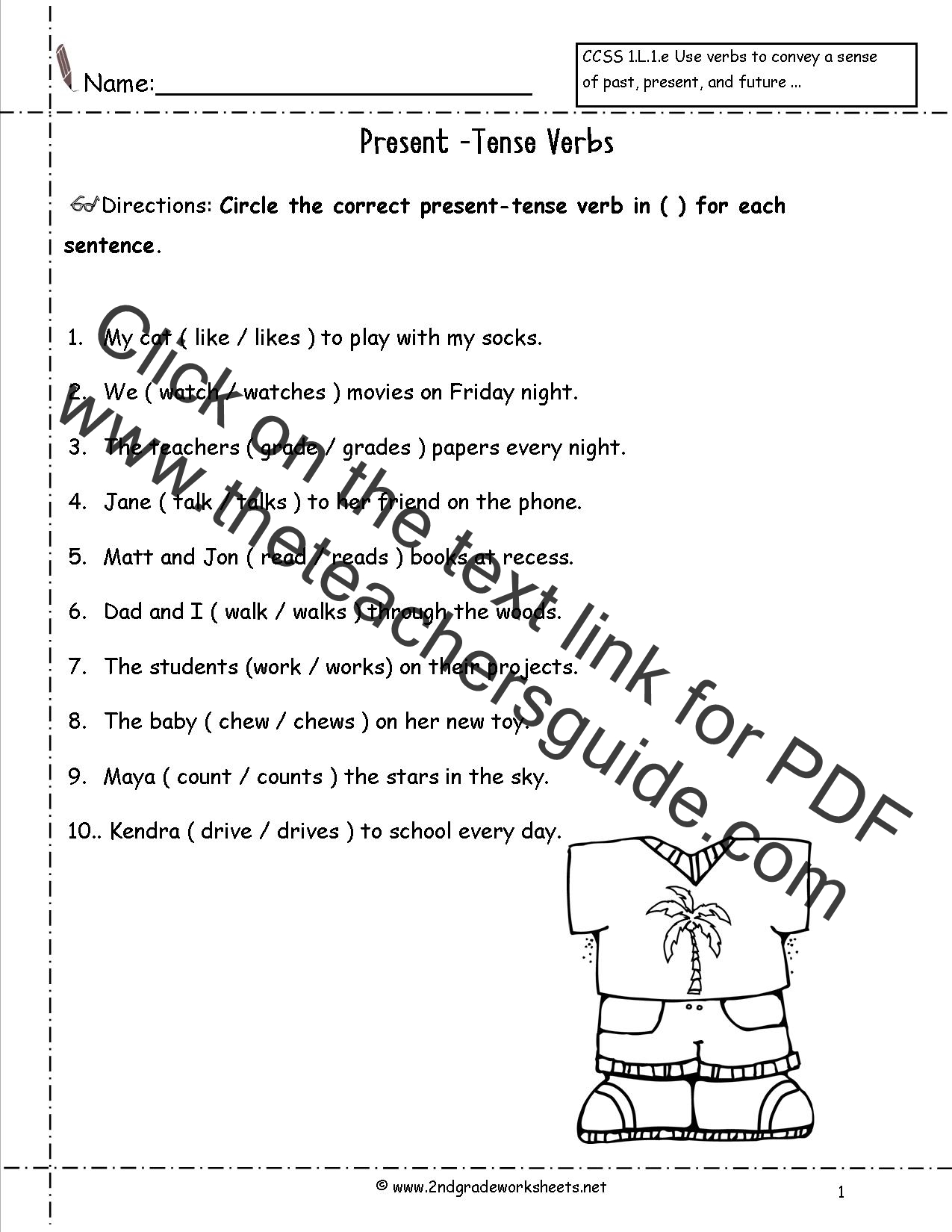 Worksheets Present Tense Verbs Worksheets wonders second grade unit three week two printouts verbs worksheet present tense verbs