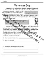 veterans day comprehension story