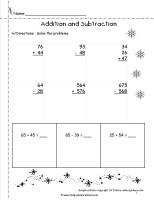 winter addition and subtraction worksheet