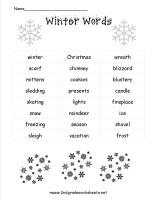 winter word list worksheet