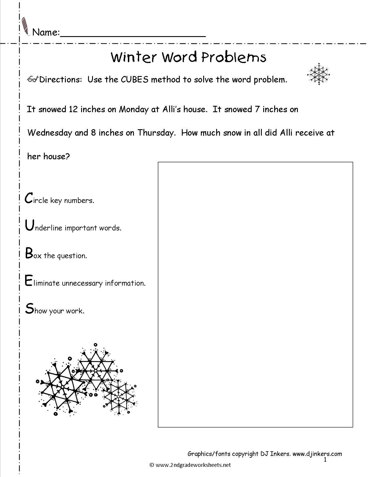 winter lesson plans themes printouts crafts winter word problems worksheet