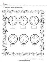 winter telling time worksheet