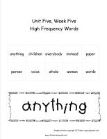wonders second grade unit five week five printout high frequency words