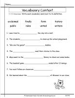 wonders second grade unit five week five printout vocabulary in context