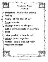 wonders second grade unit five week five printout vocabulary words