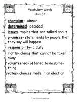 wonders unit five week one printout vocabulary words