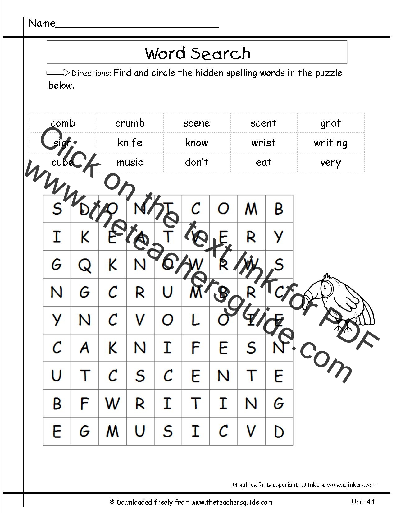 Word Find For Second Graders - insectthanksgiving word ...
