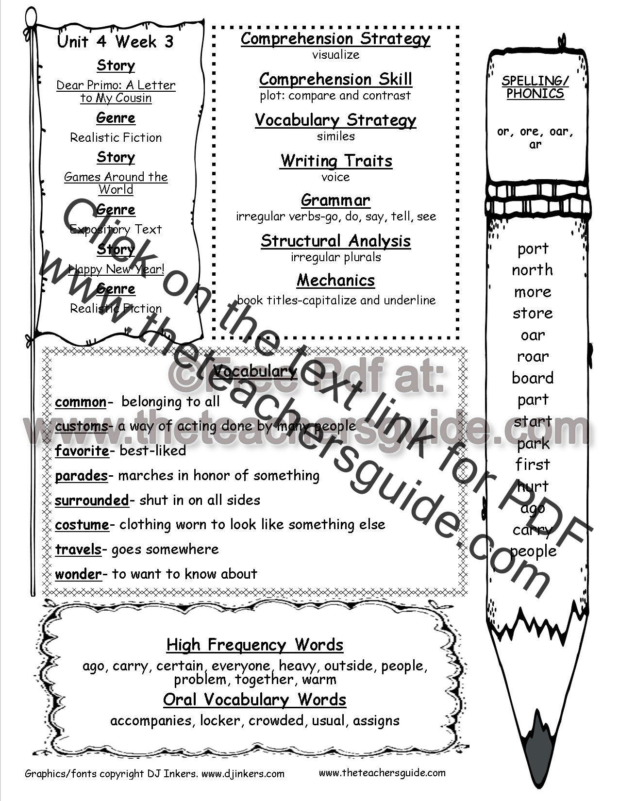 worksheet Irregular Verbs Worksheets wonders second grade unit four week three printouts printout weekly outline
