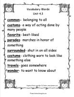 wonders unit four week three printout vocabulary words
