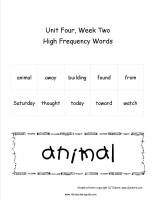wonders unit four week three printout high frequency words cards