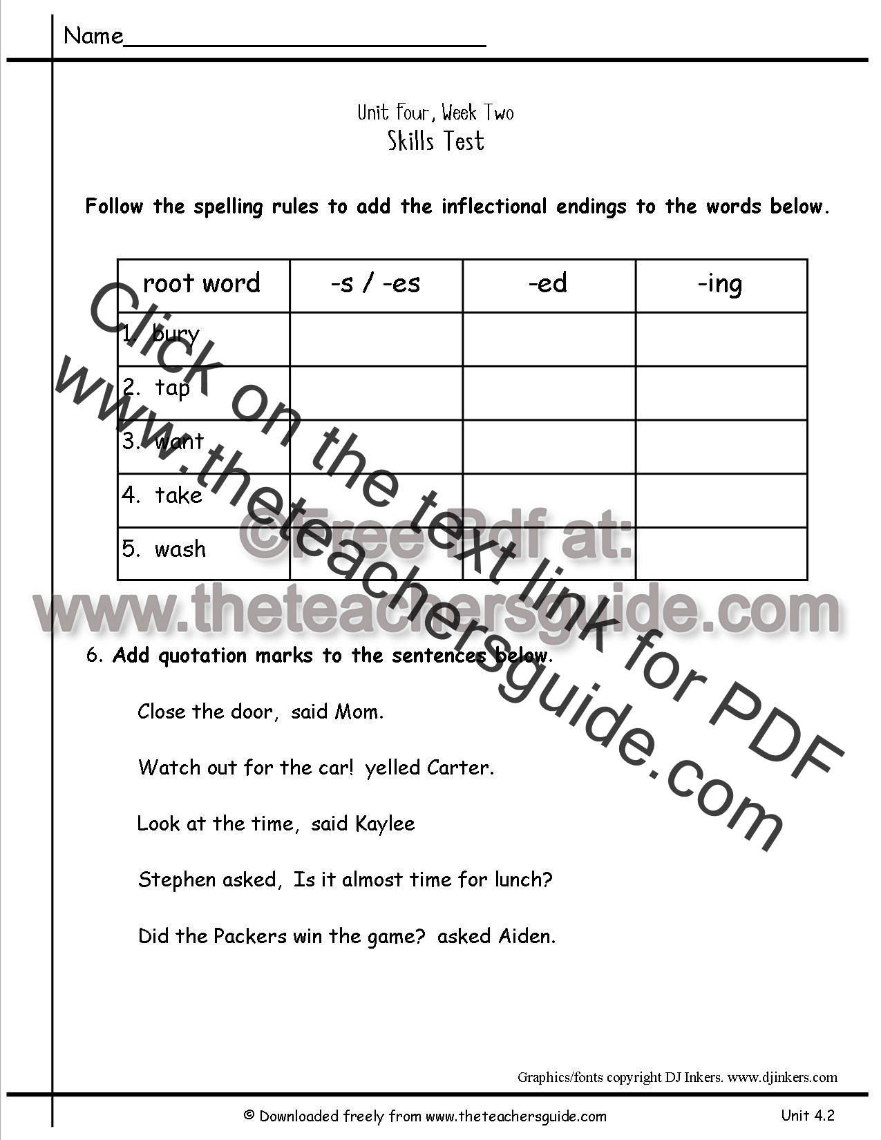 Wonders Second Grade Unit Four Week Two Printouts – Inflectional Endings Worksheets