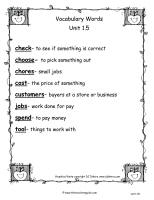 wonders unit one week five vocabulary words printout