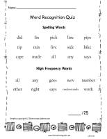 wonders unit one week five spelling words quiz