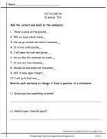 wonders second grade unit 1.1 grammar test