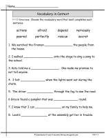 wonders unit one week one vocabulary words in context printout