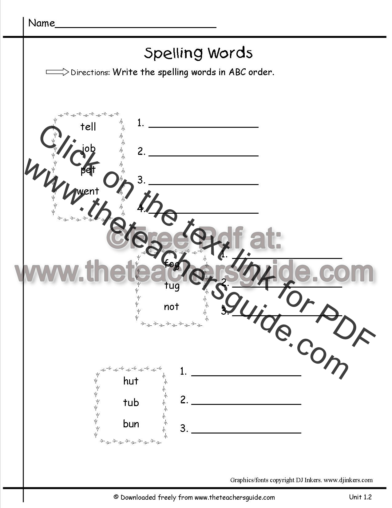 Spelling Words Abc Order Students Put In