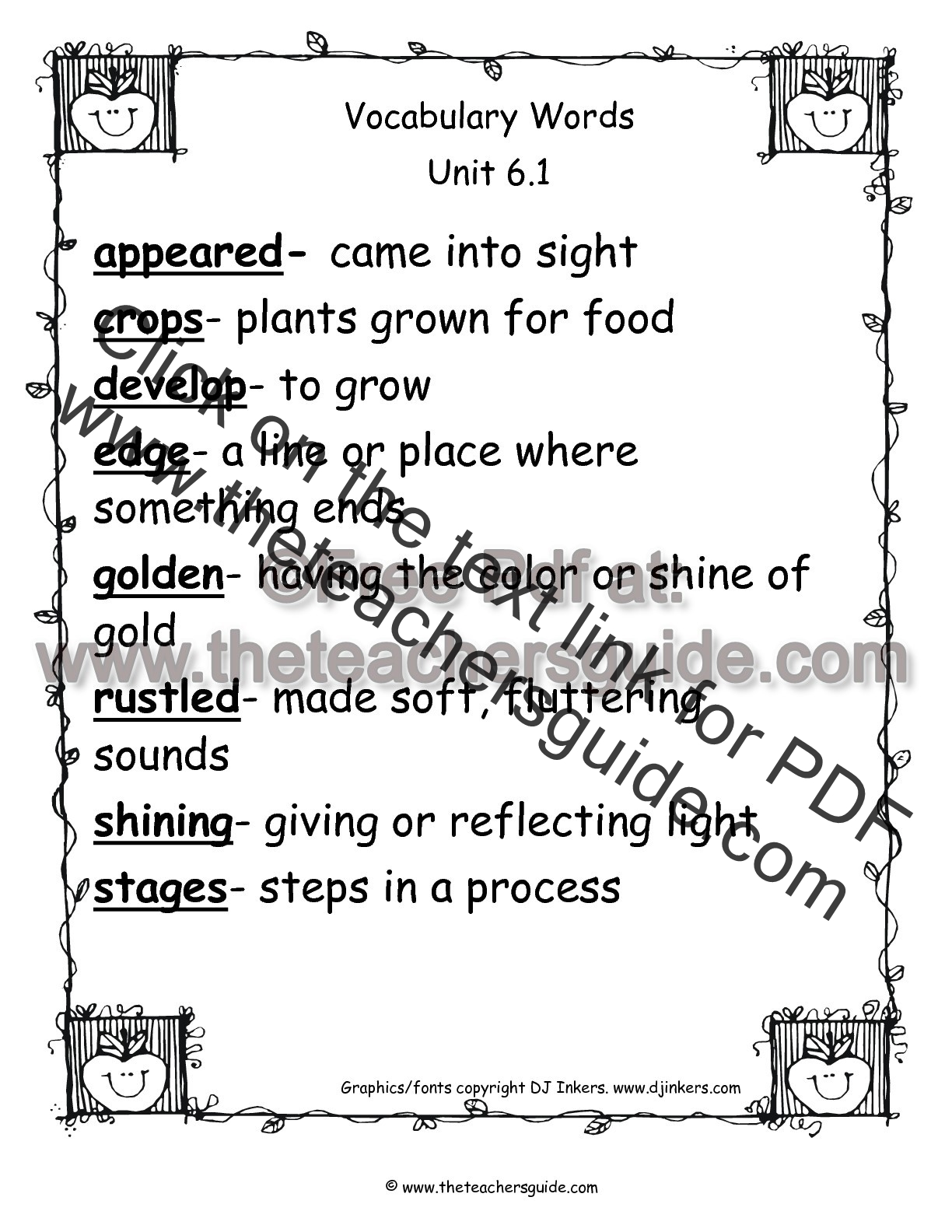 Worksheet Vocabulary Test For Grade 6 wonders second grade unit six week one printouts vocabulary words