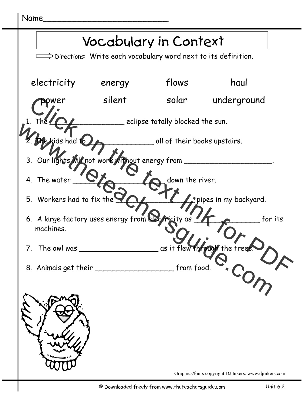 Wonders Second Grade Unit Six Week Two Printouts – Vocabulary in Context Worksheet