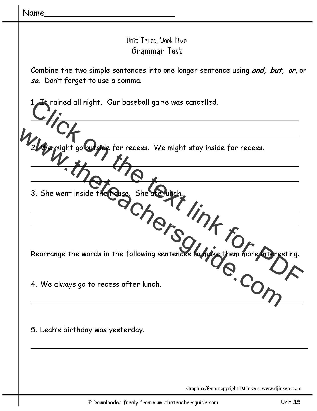 Wonders Second Grade Unit Three Week Five Printouts – Combining Sentences Worksheets