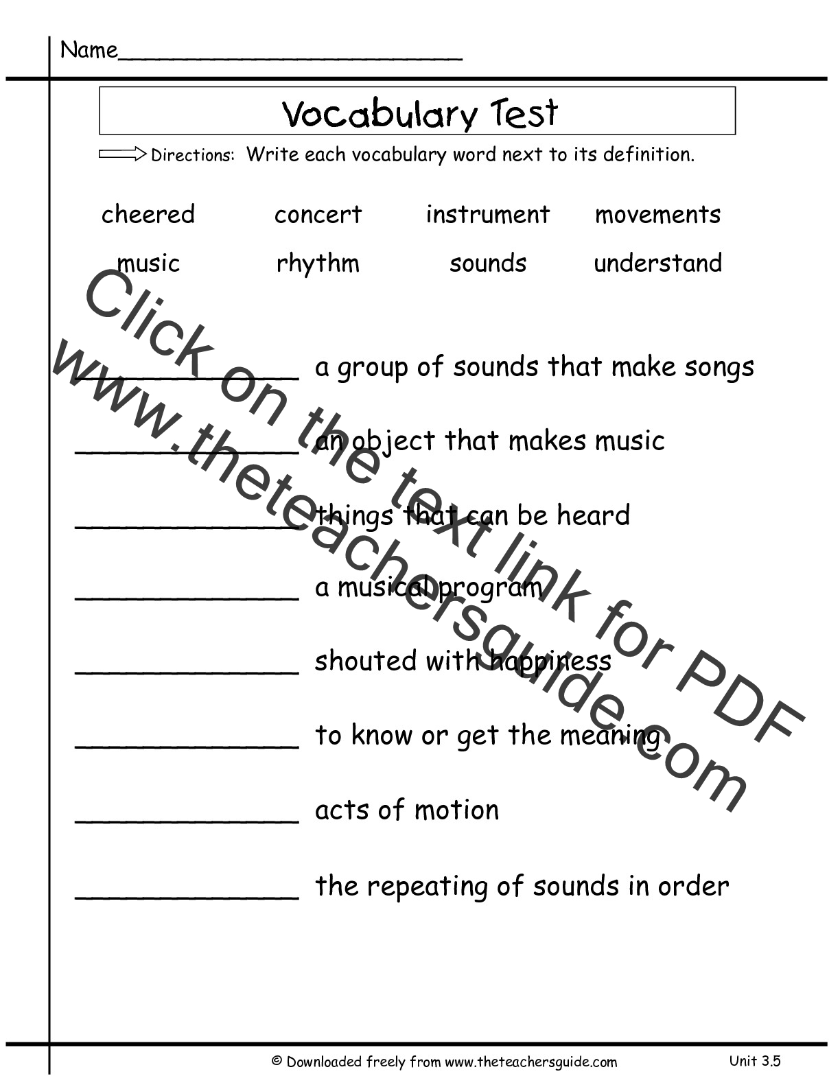 Second Grade Wonders Unit Three Week Five Vocabulary Test