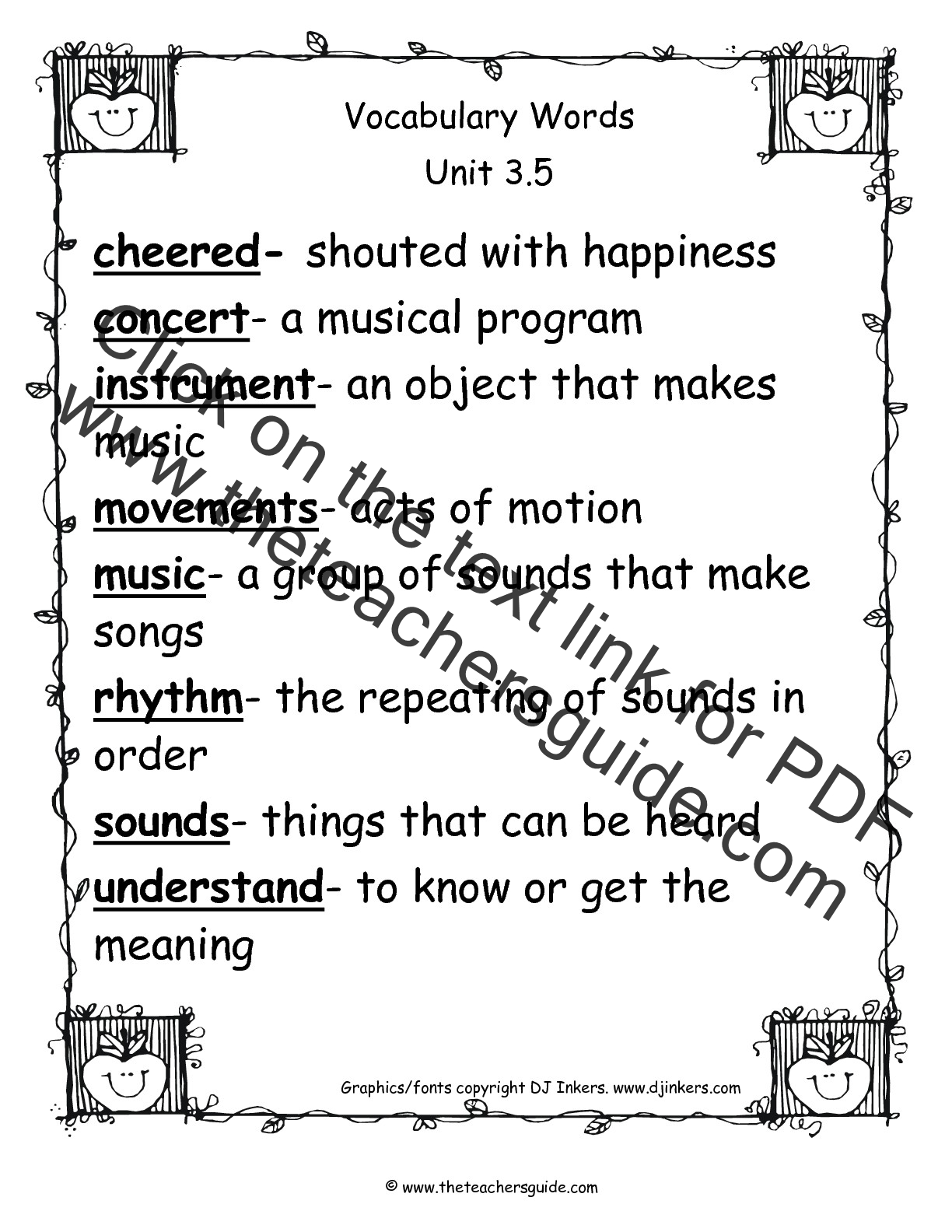 Worksheet Second Grade Vocabulary wonders second grade unit three week five printouts vocabulary words