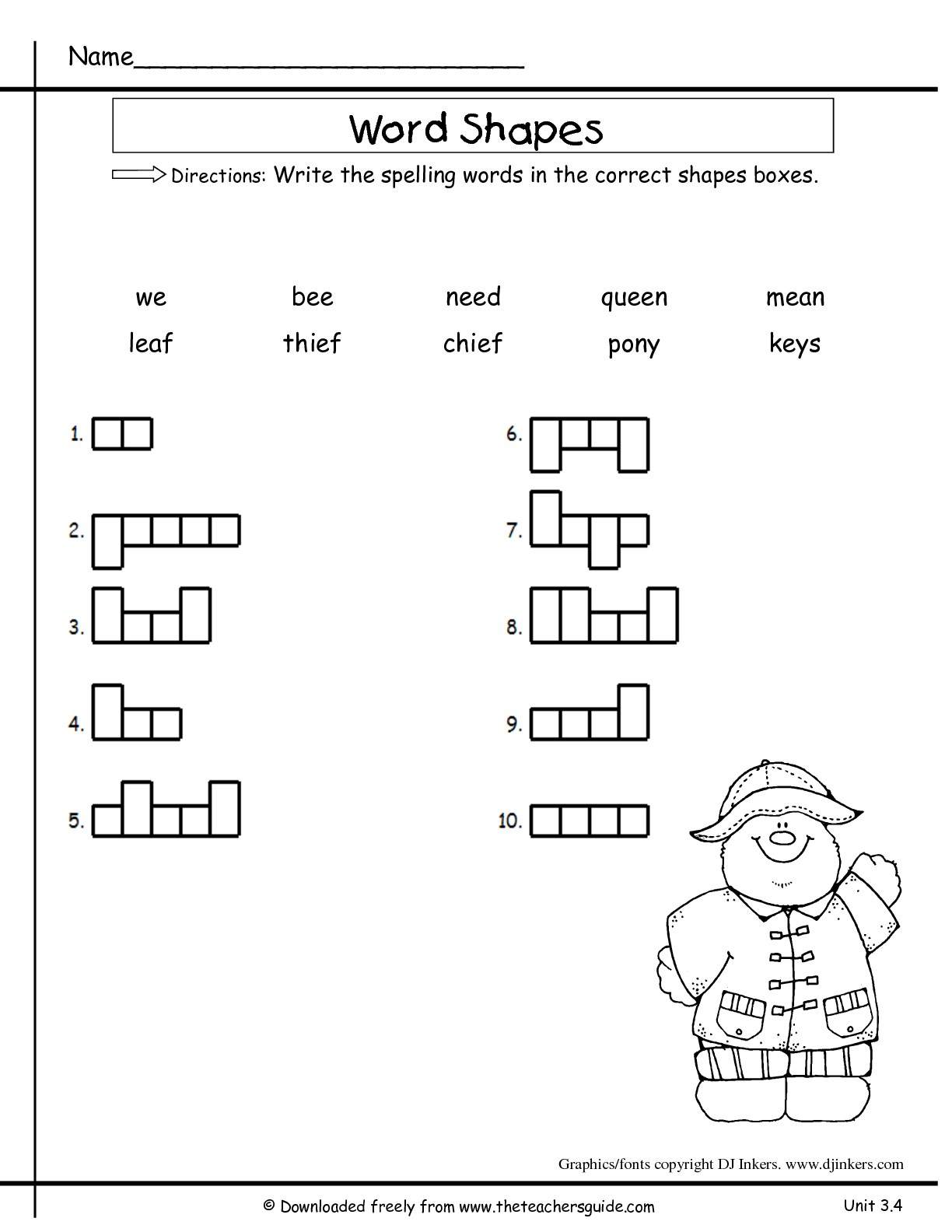 Printables Second Grade Spelling Words Worksheets wonders second grade unit three week four printouts word shapes