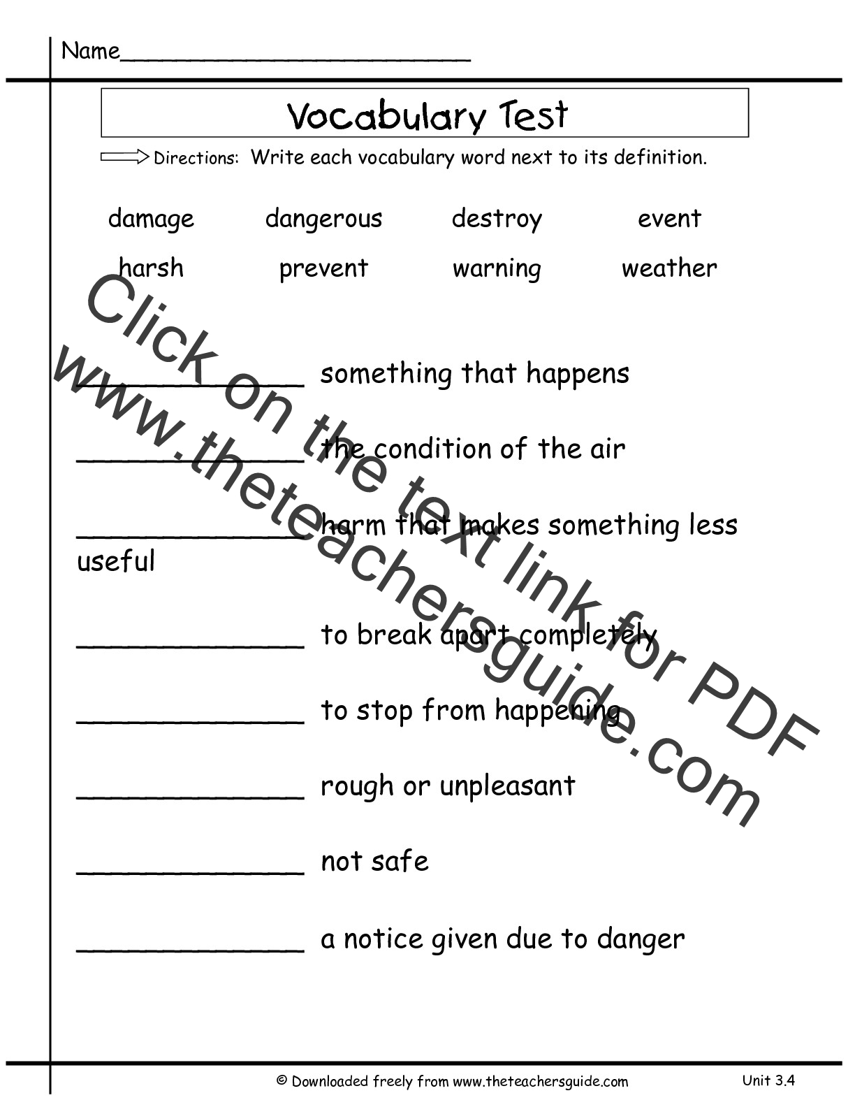 Worksheets 1st Grade Vocabulary Words And Definitions wonders second grade unit three week four printouts vocabulary test words test