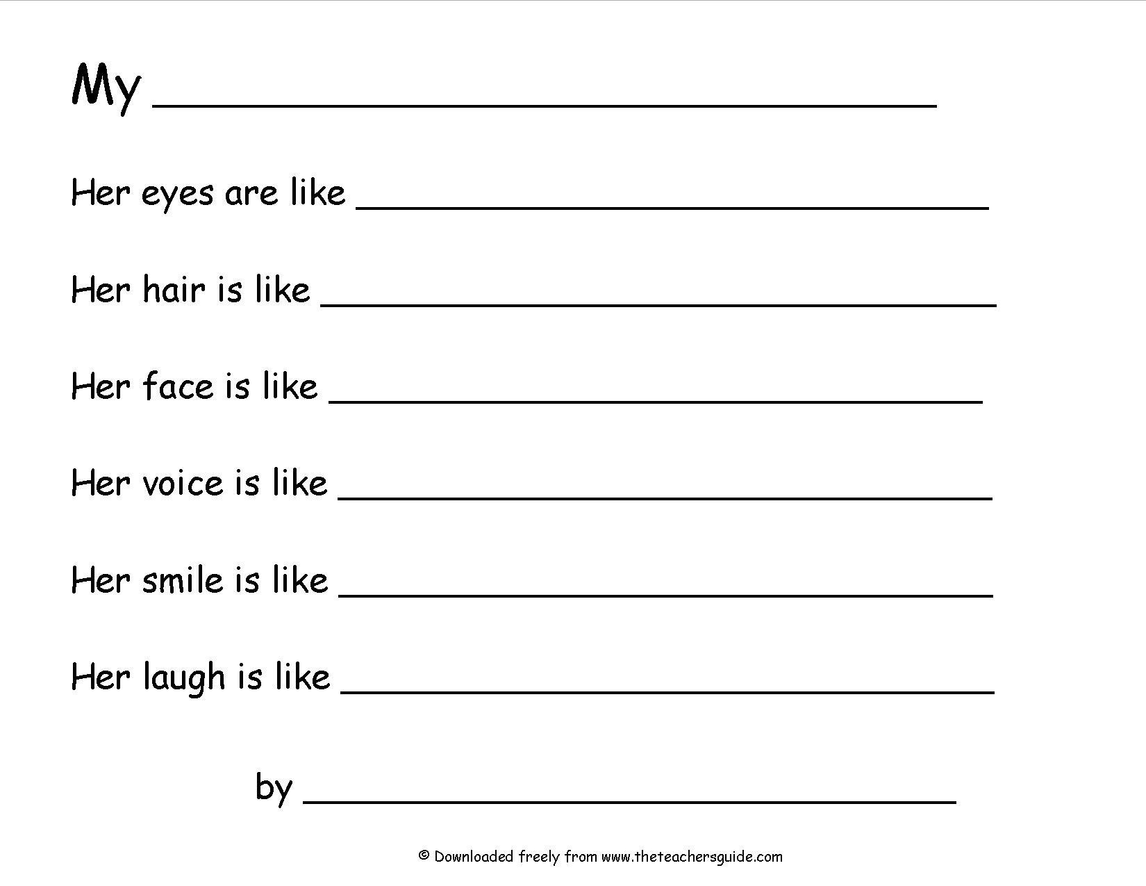 worksheet Simile Worksheets wonders second grade unit three week one printouts simile poem